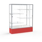 "Spirit Display Case Red Base, Satin Frame, Mirror Back 60""W x 16""D x 72""H"