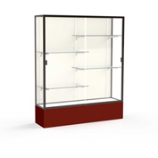 "Spirit Display Case Maroon Base, Bronze Frame, Fabric Back 60""W x 16""D x 72""H"