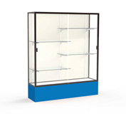 "Spirit Display Case Royal Blue Base, Bronze Frame, Fabric Back 60""W x 16""D x 72""H"