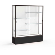 "Spirit Display Case Black Base, Bronze Frame, White Back 60""W x 16""D x 72""H"