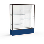 "Spirit Display Case Navy Base, Bronze Frame, White Back 60""W x 16""D x 72""H"