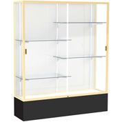 "Spirit Display Case Black Base, Gold Frame, White Back 60""W x 16""D x 72""H"