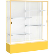 "Spirit Display Case Golden Rod Base, Gold Frame, White Back 60""W x 16""D x 72""H"