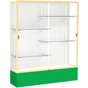 "Spirit Display Case Kelly Green Base, Gold Frame, White Back 60""W x 16""D x 72""H"
