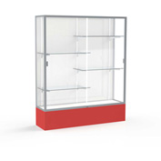 "Spirit Display Case Red Base, Satin Frame, White Back 60""W x 16""D x 72""H"