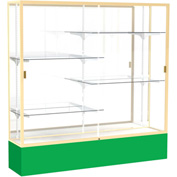 "Spirit Display Case Kelly Green Base, Gold Frame, Mirror Back 72""W x 16""D x 72""H"
