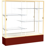 "Spirit Display Case Maroon Base, Gold Frame, Mirror Back 72""W x 16""D x 72""H"