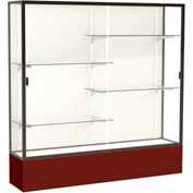 "Spirit Display Case Maroon Base, Bronze Frame, Fabric Back 72""W x 16""D x 72""H"