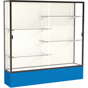 "Spirit Display Case Royal Blue Base, Bronze Frame, Fabric Back 72""W x 16""D x 72""H"