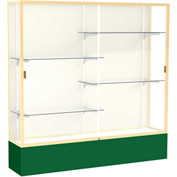 """Spirit Display Case Forest Green Base, Gold Frame, Fabric Back 72""""W x 16""""D x 72""""H"""