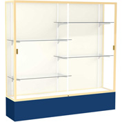 "Spirit Display Case Navy Base, Gold Frame, Fabric Back 72""W x 16""D x 72""H"