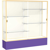 "Spirit Display Case Purple Base, Gold Frame, Fabric Back 72""W x 16""D x 72""H"