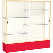 "Spirit Display Case Red Base, Gold Frame, Fabric Back 72""W x 16""D x 72""H"