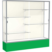 "Spirit Display Case Kelly Green Base, Satin Frame, Fabric Back 72""W x 16""D x 72""H"