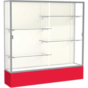 "Spirit Display Case Red Base, Satin Frame, Fabric Back 72""W x 16""D x 72""H"