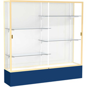"Spirit Display Case Navy Base, Gold Frame, White Back 72""W x 16""D x 72""H"