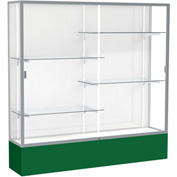 "Spirit Display Case Forest Green Base, Satin Frame, White Back 72""W x 16""D x 72""H"