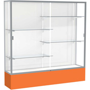 "Spirit Display Case Orange Base, Satin Frame, White Back 72""W x 16""D x 72""H"