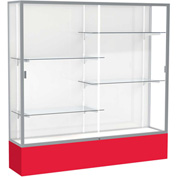 "Spirit Display Case Red Base, Satin Frame, White Back 72""W x 16""D x 72""H"