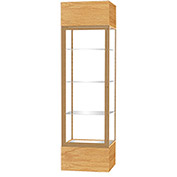 "Keepsake Floor Display Case 24""W x 72""H x 24""D Natural Oak Base Clear Back Champagne Frame"