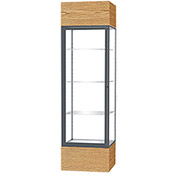 "Keepsake Floor Display Case 24""W x 72""H x 24""D Light Oak Base Clear Back Satin Natural Frame"