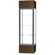 "Keepsake Floor Display Case 24""W x 72""H x 24""D Walnut Base Clear Back Satin Natural Frame"