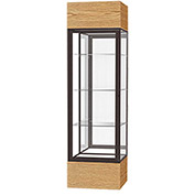 "Keepsake Floor Display Case 24""W x 72""H x 24""D Light Oak Base Mirror Back Dark Bronze Frame"