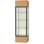 "Keepsake Floor Display Case 24""W x 72""H x 24""D Light Oak Base Plaque Back Satin Natural Frame"