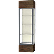 "Keepsake Floor Display Case 24""W x 72""H x 24""D Walnut Base Plaque Back Satin Natural Frame"