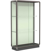 Prominence Display Case Dark Bronze Frameame, Fabric Back, Silding Door