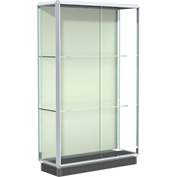 Prominence Display Case Chrome Frame, Fabric Back, Silding Door