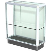 "Prominence Display Case Chrome Frame, Fabric Back 36""W x 14""D x 40""H"