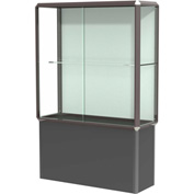 "Prominence Spotlight Floor Case, Plaque Back, Bronze Frame, Locking Black Base, 48""L x 72""H x 18""D"