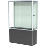 "Prominence Spotlight Floor Case, Plaque Back, Chrome Frame, Locking Black Base, 48""L x 72""H x 18""D"