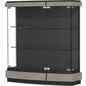"Quantum Lighted Wall Case, Black Textured Laminate Back, Elm Frame, 42""L x 44""H x 12""D"