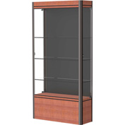 "Contempo Lighted Floor Case, Black Back, Cherry Base, Dark Bronze Frame, 36""L x 72""H x 14""D"
