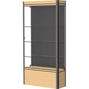 "Contempo Lighted Floor Case, Black Back, Light Maple Base, Dark Bronze Frame, 36""L x 72""H x 14""D"