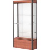 "Contempo Lighted Floor Case, White Back, Cherry Base, Dark Bronze Frame, 36""L x 72""H x 14""D"