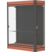 "Contempo Lighted Wall Case, Black Back, Cherry Base, Dark Bronze Frame, 36""L x 44""H x 14""D"