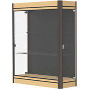 "Contempo Lighted Wall Case, Black Back, Light Maple Base, Dark Bronze Frame, 36""L x 44""H x 14""D"