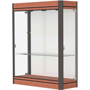"Contempo Lighted Wall Case, White Back, Cherry Base, Dark Bronze Frame, 36""L x 44""H x 14""D"