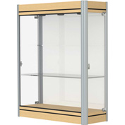 "Contempo Lighted Wall Case, White Back, Light Maple Base, Satin Frame, 36""L x 44""H x 14""D"