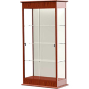 "Varsity Display Case Cherry Oak, Fabric Back 36""W x 18""D x 77""H"