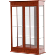 "Varsity Display Case Cherry Oak, Mirror Back, Hinged Door 48""W x 18""D x 77""H"