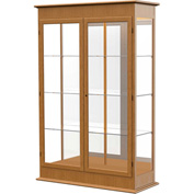 "Varsity Display Case Carmel Oak, Mirror Back, Hinged Door 48""W x 18""D x 77""H"
