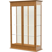 "Varsity Display Case Carmel Oak, Fabric Back, Hinged Door 48""W x 18""D x 77""H"