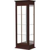 "Varsity Lighted Tower Case, Hinged Door, Mirror Back, Espresso Frame, 25""L x 77""H x 18""D"