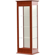 "Varsity Display Case Cherry Oak, Fabric Back 25""W x 18""D x 77""H"
