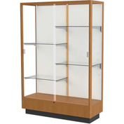 "Heritage Display Case Carmel Oak, Fabric Back 48""W x 18""D x 70""H"