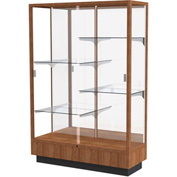 "Heritage Display Case Danish Walnut, Mirror Back 48""W x 18""D x 70""H"